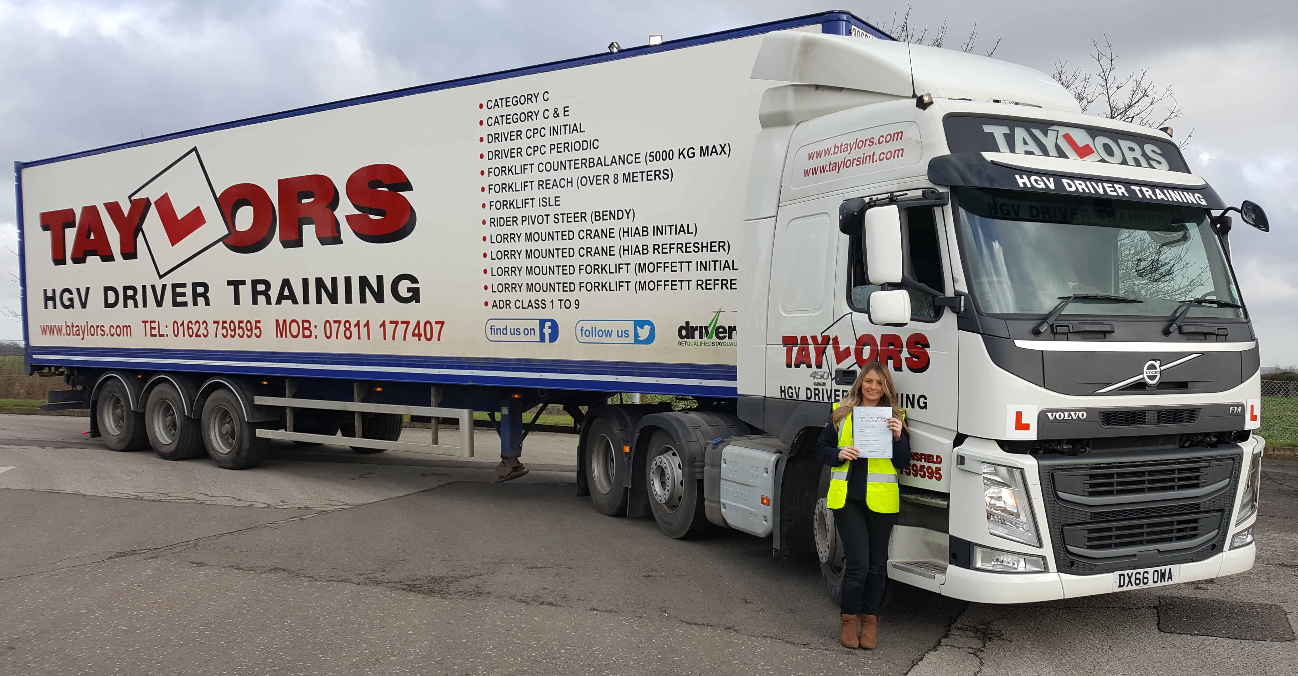 REBECCA TAYLOR PASSES HER CATEGORY C E DRIVING TEST Taylors