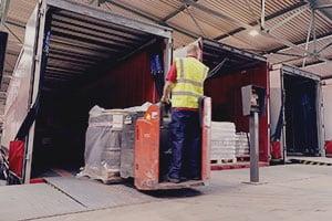 Warehouse unloading forklift